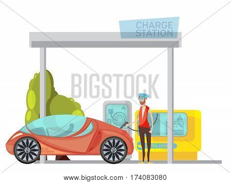 Eco frienly electro car and its owner at charge station on white background flat vector illustration