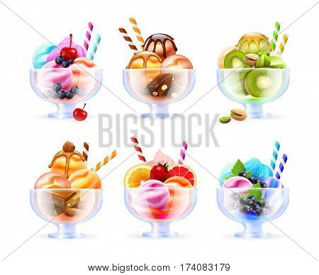 Sherbet glass assortment realistic images with colorful ice cream fruity cocktails of different colour and toppings vector illustration