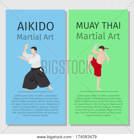 Asian martial arts vector flyers set. Aikido and Muay Thai illustration