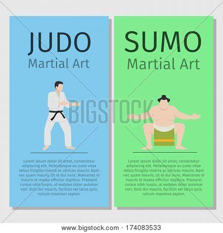 Asian martial arts vector flyers set. Judo and sumo illustration