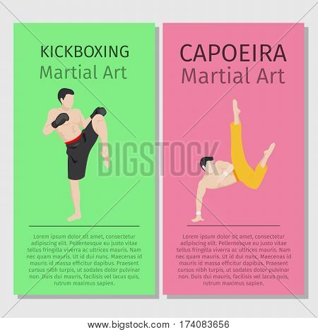 Asian martial arts vector flyers set. Kickboxing and Capoeira
