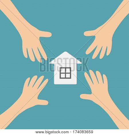Four Hands arms reaching to paper house home sign symbol. Taking hand. Close up body part. Business card. Flat design. Wealth concept. Blue background. Isolated. Vector illustration