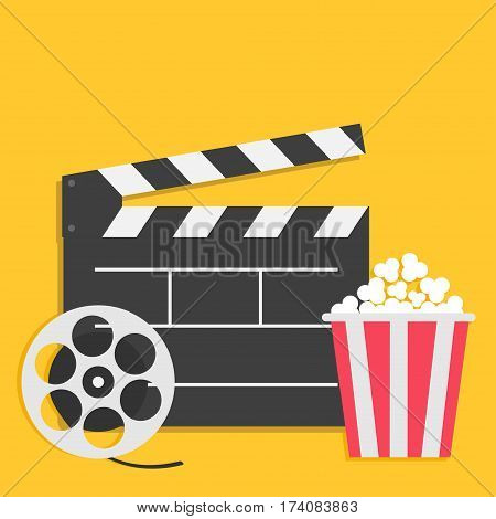 Big open clapper board Movie reel Popcorn Cinema icon set. Flat design style. Yellow background. Vector illustration