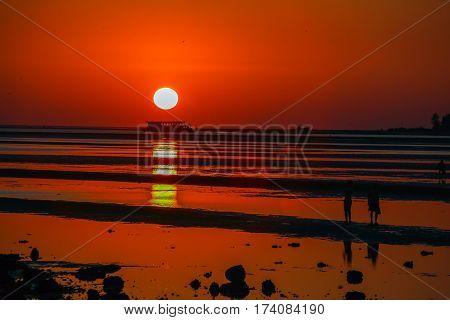 Stunning sunset on the Indian coast of Goa