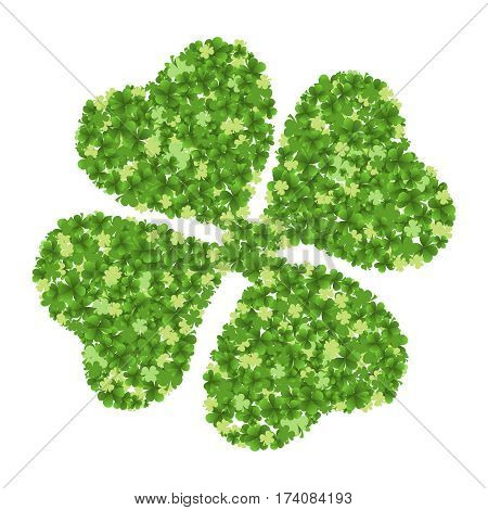 Green four-leaf clover made from little clovers isolated on white background. Vector illustration
