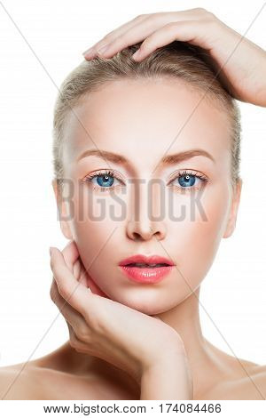 Aesthetic Medicine Concept. Closeup Spa Portrait of Perfect Model Woman with Healthy Skin on White