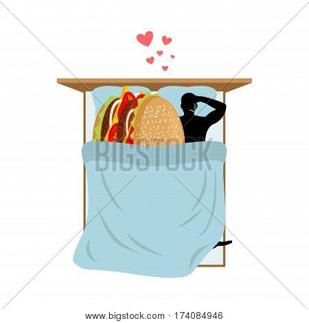 Lover Fast Food. Man And Hamburger In Bed. Guy And Burger. Lovers In Bedroom. Romantic Date Fastfood
