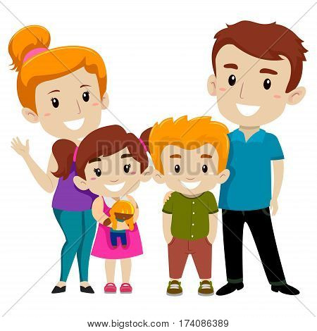 Vector Illustration Set of Four Member Happy Family