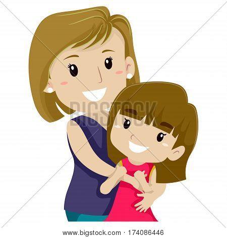Vector Illustration of Mother Hugging her Daughter