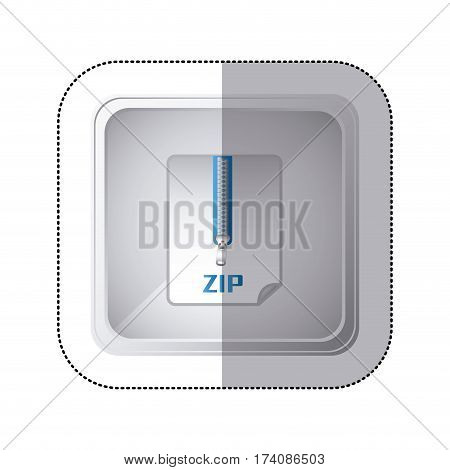 sticker silver square button with sheet with zip vector illustration