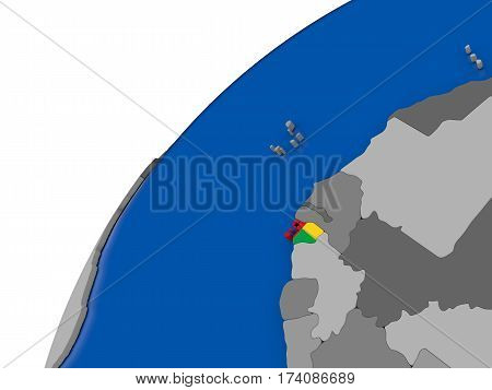 Guinea-bissau With Flag On Political Globe