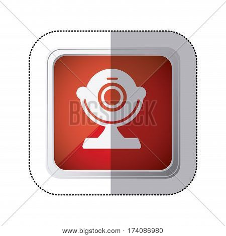 sticker red square button with silhouette webcam computer device vector illustration
