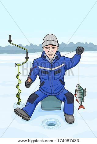 The man loves to fish from the ice in winter.
