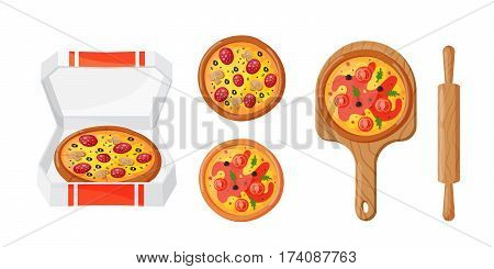 Hot fresh pizza icon vector illustration. Food and drink element typographic design label or sticker bakery. Cooking cafe menu symbol with traditional lunch delicious.
