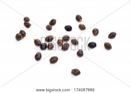 seeds of ripe papaya isolated on white bakckground