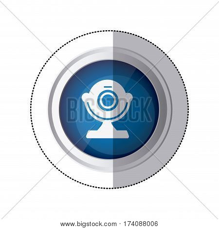 sticker blue circular button with silhouette webcam computer device vector illustration