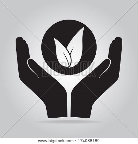 Leaf in hand for cultivation icon Growth protect of nature concept