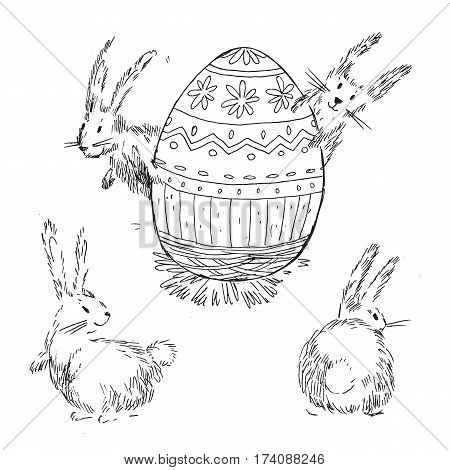 Handdrawn vector happy easter set with big decorated egg and cute bunnies look out for egg. Bunny looks, bunny sits back. Black and white.
