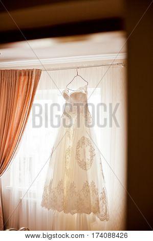 beautiful elegance wedding dress and shoes bride