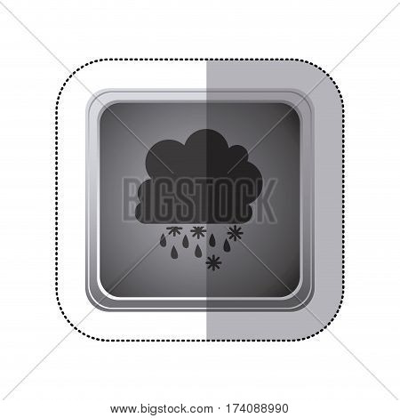 sticker gray square button with silhouette cumulus of clouds with rain vector illustration