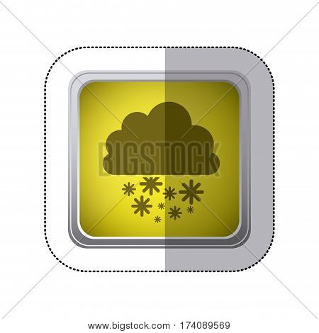 sticker yellow square button with silhouette cumulus of clouds with snow rain vector illustration