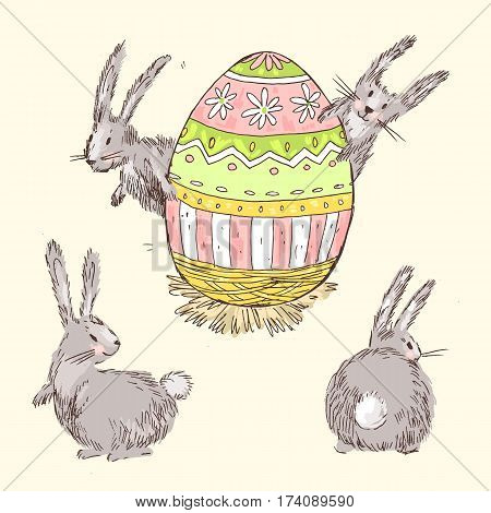 Handdrawn vector happy easter set with big decorated egg and cute bunnies look out for egg. Bunny looks, bunny sits back. Pastel colors.