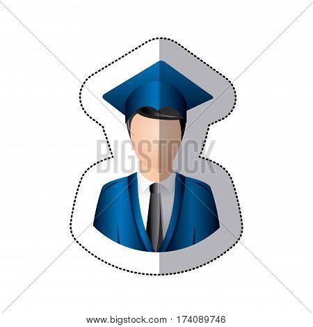 sticker colorful half body man with graduation outfit vector illustration