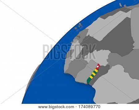 Togo With Flag On Political Globe