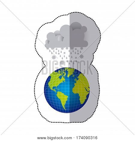 sticker colorful earth world cloud with cumulus of clouds with snow rain vector illustration
