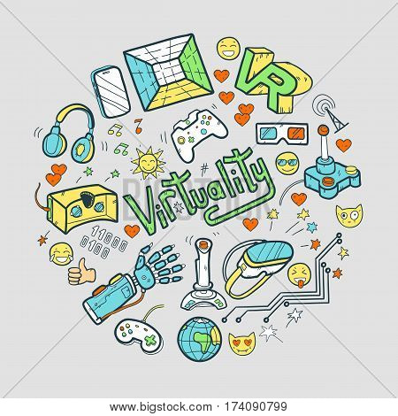 Doodle vector round illustration with virtual reality and innovative technologies. Hand drawn objects: computer, internet, gamepad, smartphone, joystick, vr-device, 3d-glasses, emoji. Cute style.