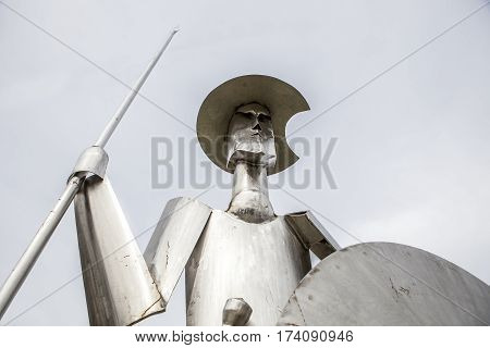 Plasencia Spain - February 15 2017: Don Quixote steel sculpture made by the artist Manuel Iglesias