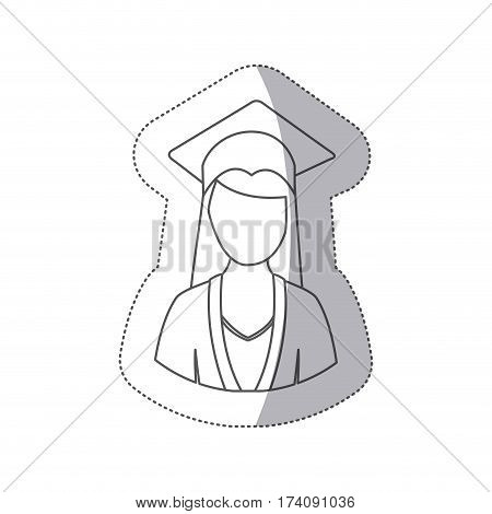 sticker silhouette half body woman with graduation outfit vector illustration
