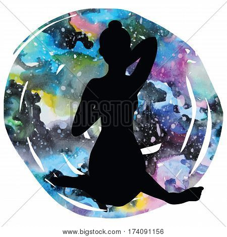 Women silhouette on galaxy astral background. Cow face yoga pose. Gomukhasana. Vector illustration.