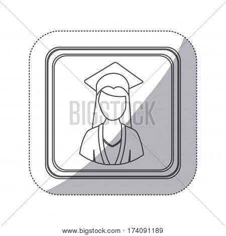sticker monochrome silhouette square button with half body woman with graduation outfit vector illustration