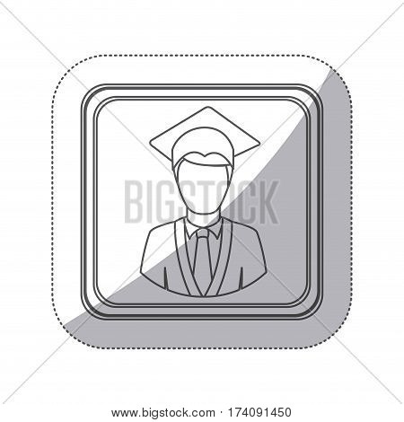 sticker monochrome silhouette square button with half body man with graduation outfit vector illustration