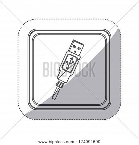 sticker monochrome silhouette square button with usb connector with wire vector illustration