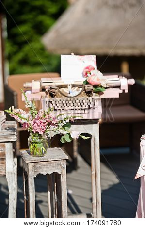 beautiful wedding decorations in the interior and on the table