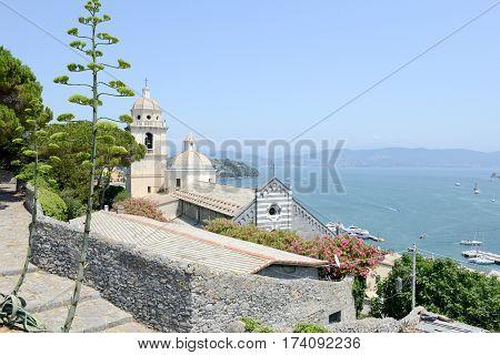 Portovenere Italy - 7 July 2015: The Romanesque church of St. Lawrence at Portovenere Italy