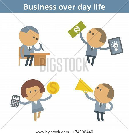 Business cartoon avatar set: office corporate management and success. Vector flat businessman people over day life userpic and icons. Collection for web design social networks and infographics.