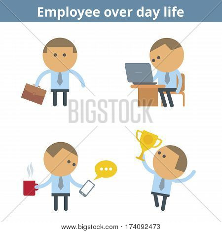 Business cartoon avatar set: manager and employee. Vector flat office corporate working professional people over day life userpic and icons. Collection for web social networks and infographics.