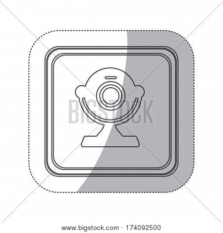 sticker monochrome silhouette square button with webcam computer device vector illustration
