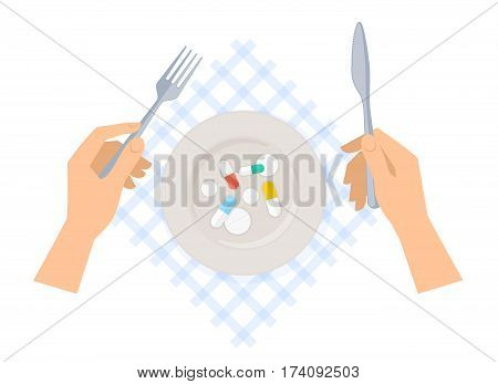Human hands with knife fork serviette plate of cure and pills. Flat concept illustration of utensils and ceramic dish with drugs. Vector elements for web design social network medical infographic