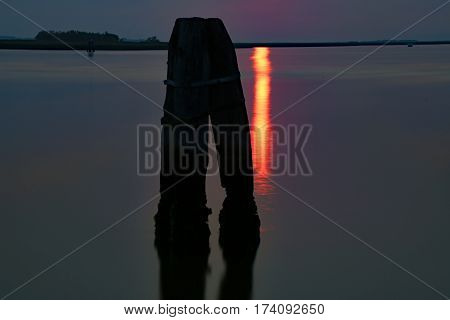 Reflection Of The Sun On The Lagoon At Dawn On A Summer Day
