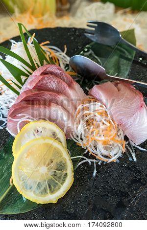 hamachi sashimi Japanese gourmet cuisine