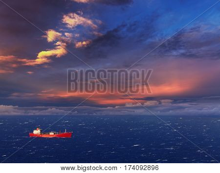 Red ship in the sea at sunset