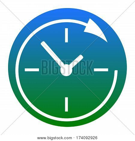 Service and support for customers around the clock and 24 hours. Vector. White icon in bluish circle on white background. Isolated.