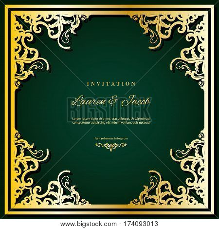 Wedding invitation card template with laser cutting frame. Gold luxury decor. Can be used for filigree cutout envelope design.