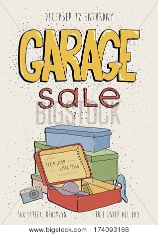 Garage sale poster, event invitation. Camera, phone, box. Hand drawn colorful illustration with old goods.