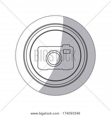 sticker monochrome silhouette circular button with analog camera vector illustration