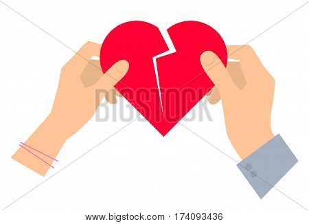 Male and female hands with broken red heart. Vector flat illustration of human hands and holding heart shape. Divorce love living together concept design. Element for presentation web infographic.